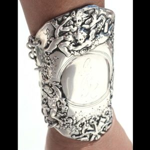 Antique Tiffany Sterling Silver Cherub Bracelet